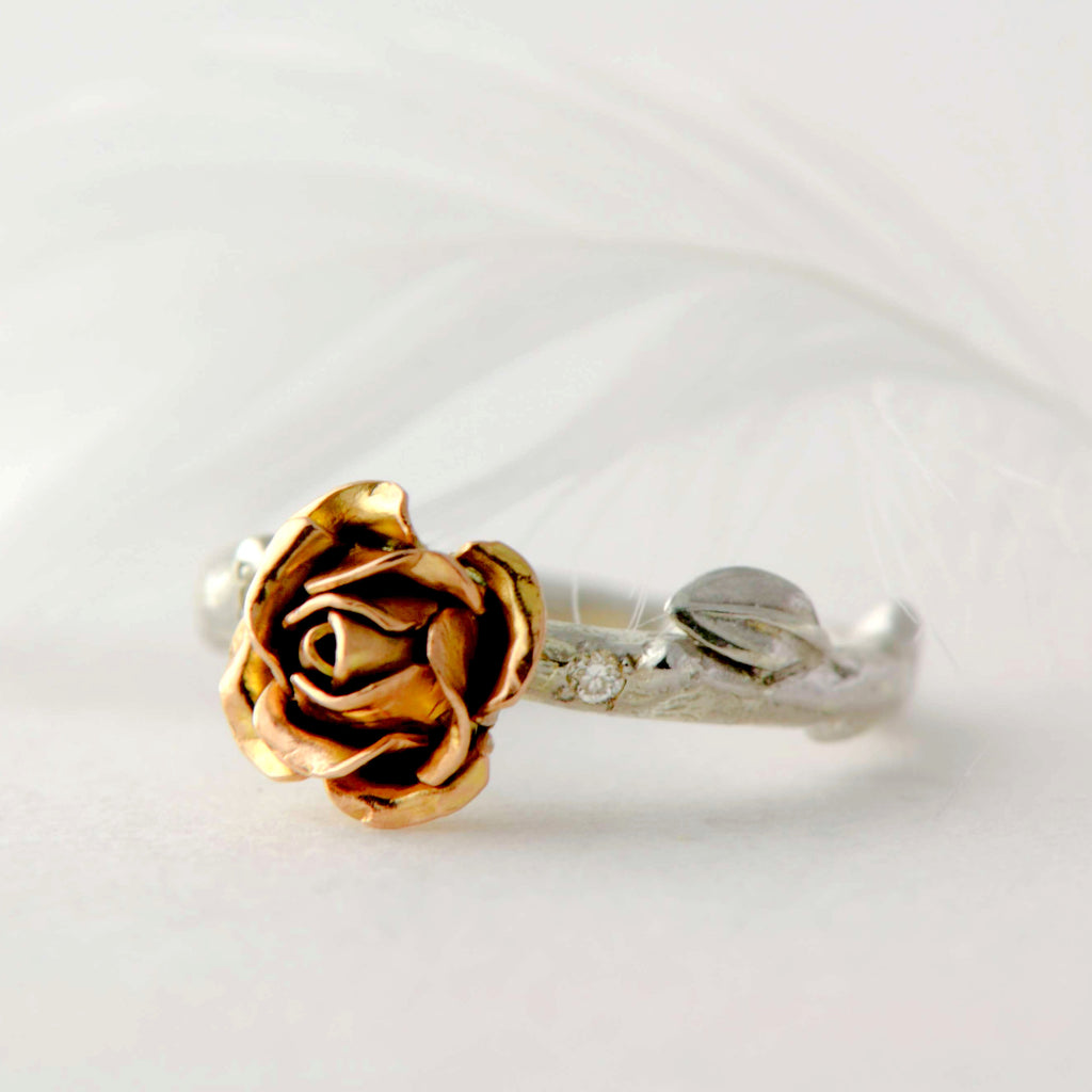 rose gold rose ring with tiny diamonds