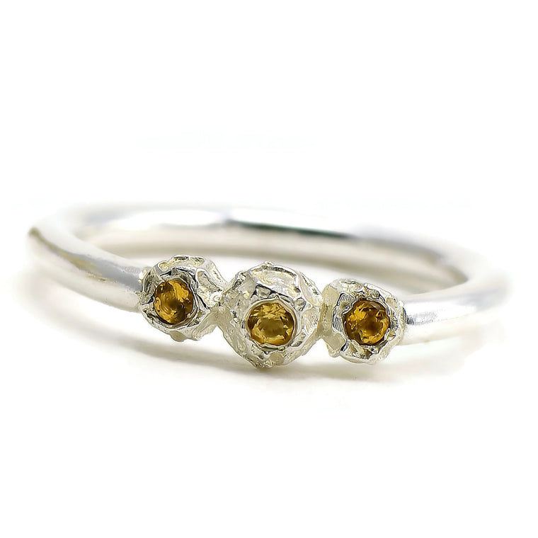 Silver grains of peppercorns ring design