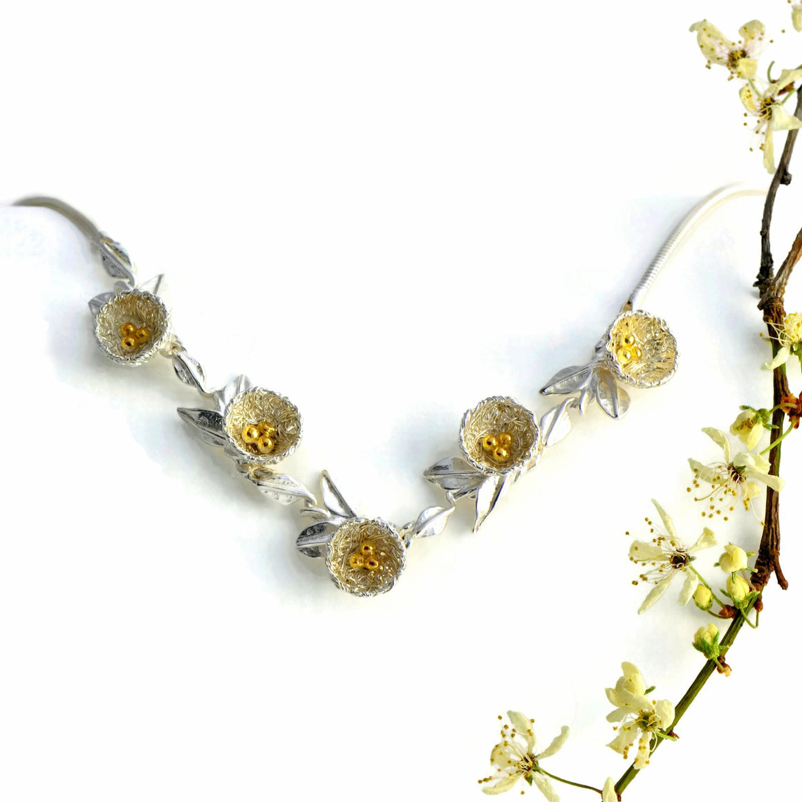 Bird's nest necklace with five Nests, Golden Eggs, and Golden Bird