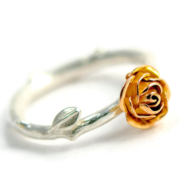 18 carats rose eco-gold rose ring with silver