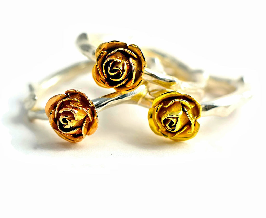colorful roses - rose rings in silver and gold