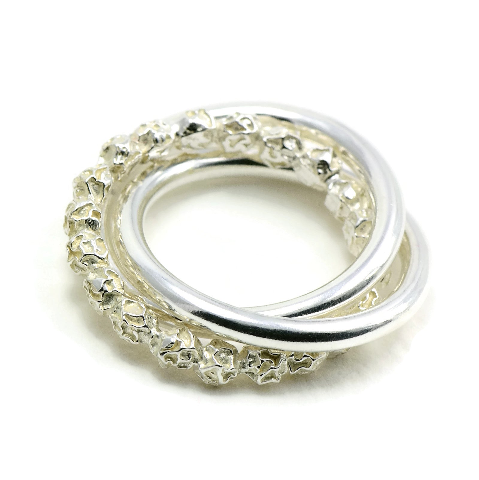 Russian Wedding Ring Design Sterling Silver Peppercorns