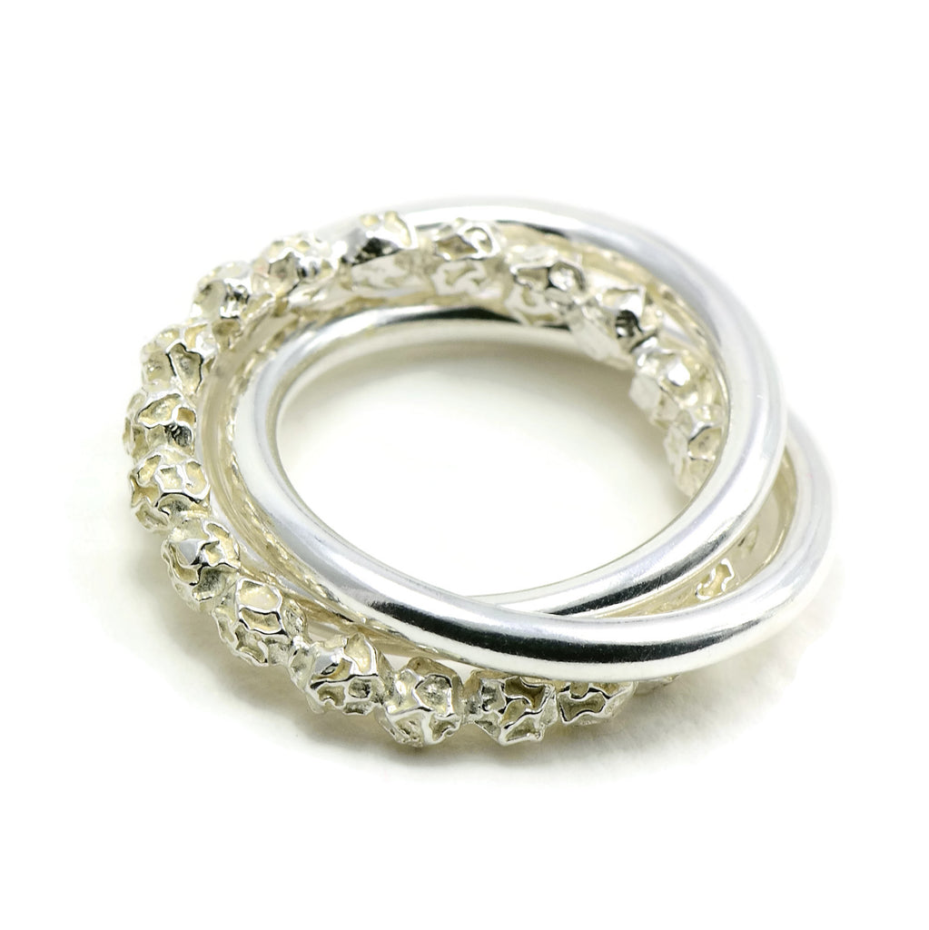 Russian Wedding Ring Design, Sterling Silver Peppercorns