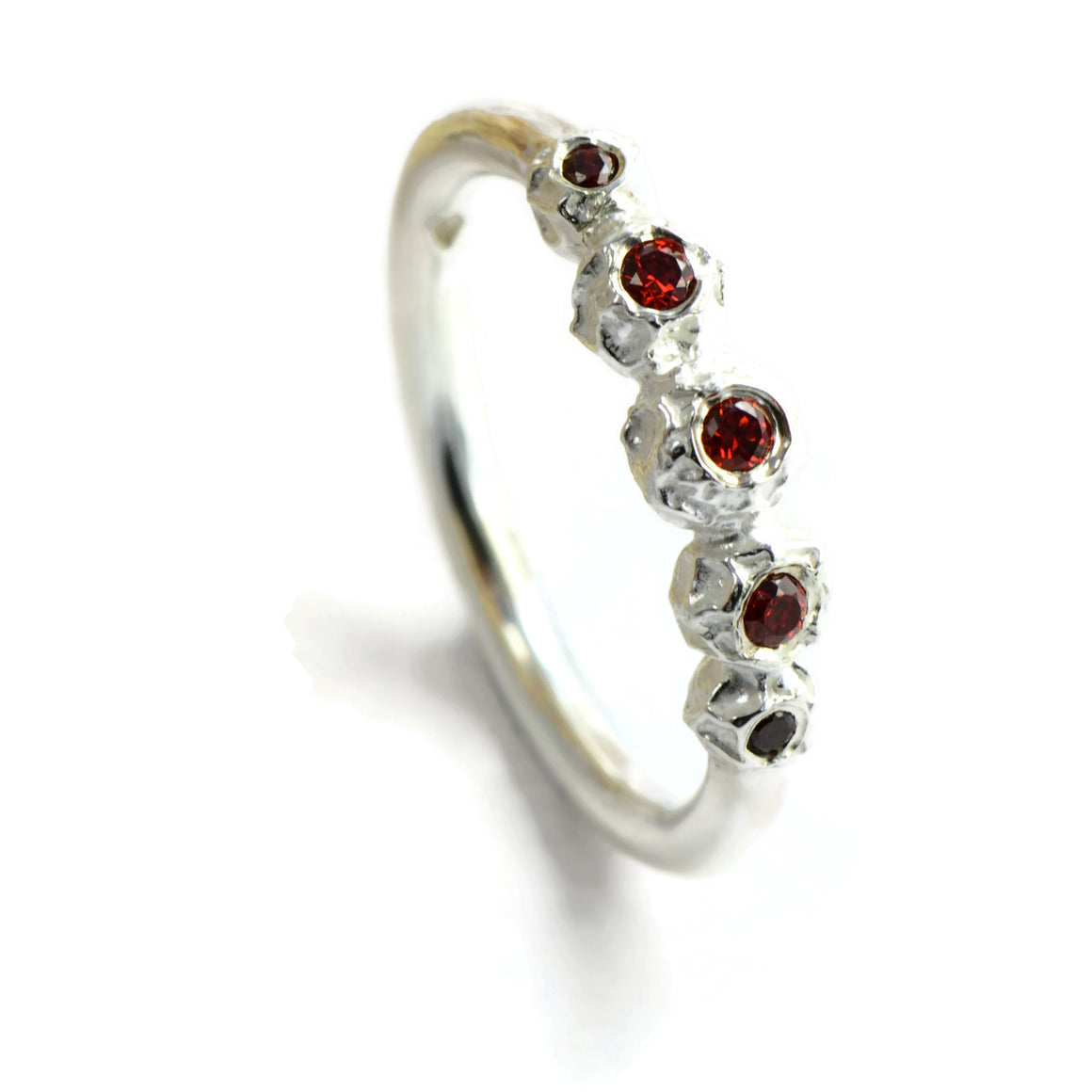 eternity ring, garnet, silver peppercorns