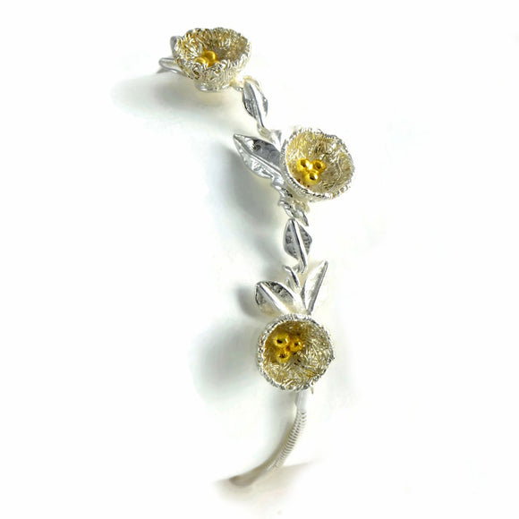 bird's nest bracelet with three nests, golden Eggs, and Golden Bird