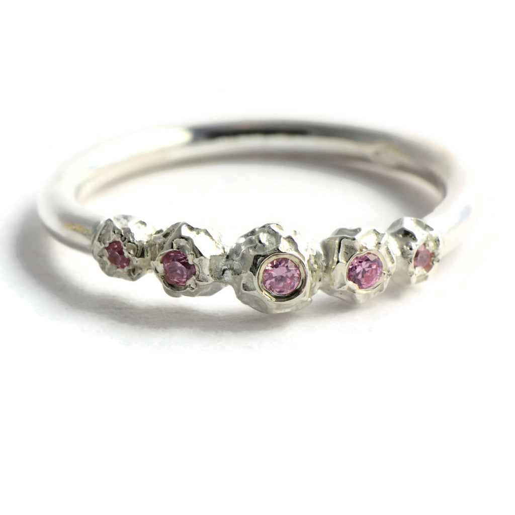 eternity ring with 5 pink tourmaline, Silver peppercorn ring design
