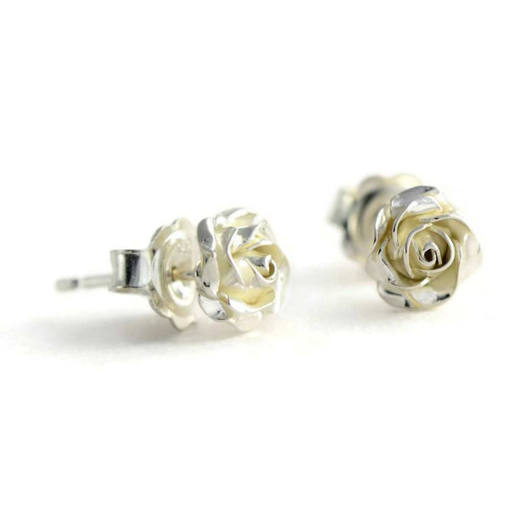Tiny rose stud earrings - delicate 3D rose stud earrings in silver