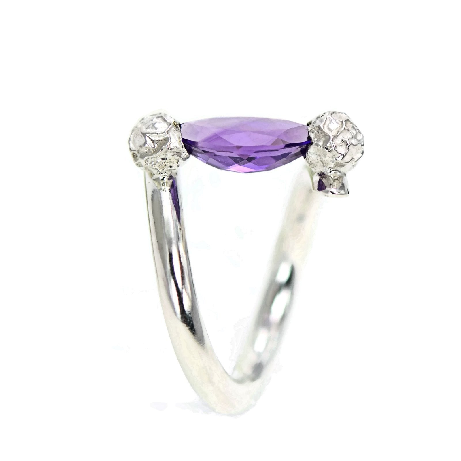 Amethyst Tension Ring Made in Sterling Silver Peppercorns
