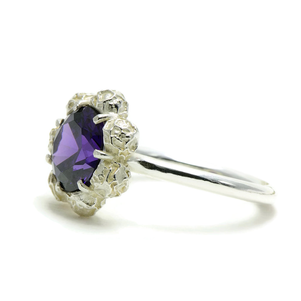 flower design ring, large gemstone, Amethyst , peppercorn ring