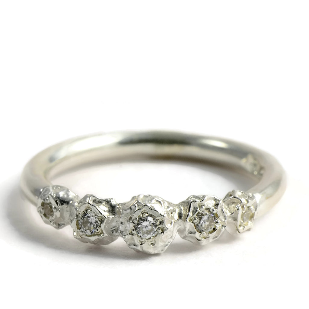 five gemstone engagement ring, silver peppercorns eternity ring design