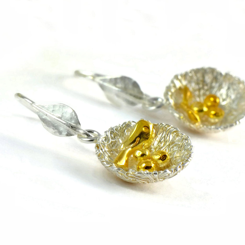 Bird's nest earrings with Golden Bird and Eggs