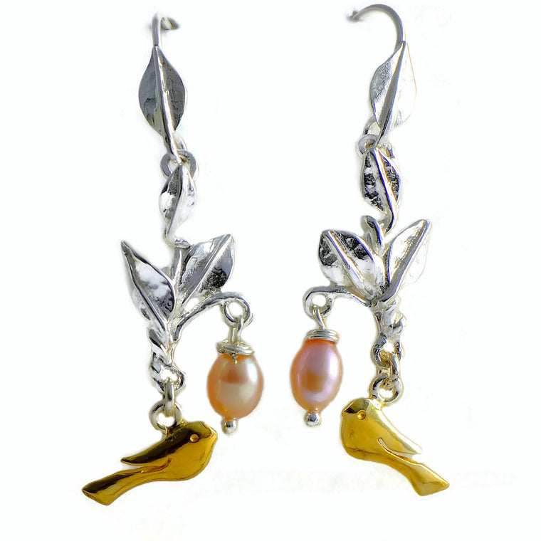 silver and gold pearls earrings