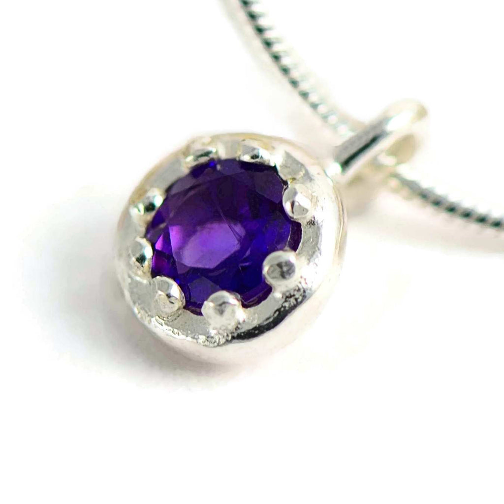 Delicate silver pendant with an elegant crown basket frame and gemstone of your choice