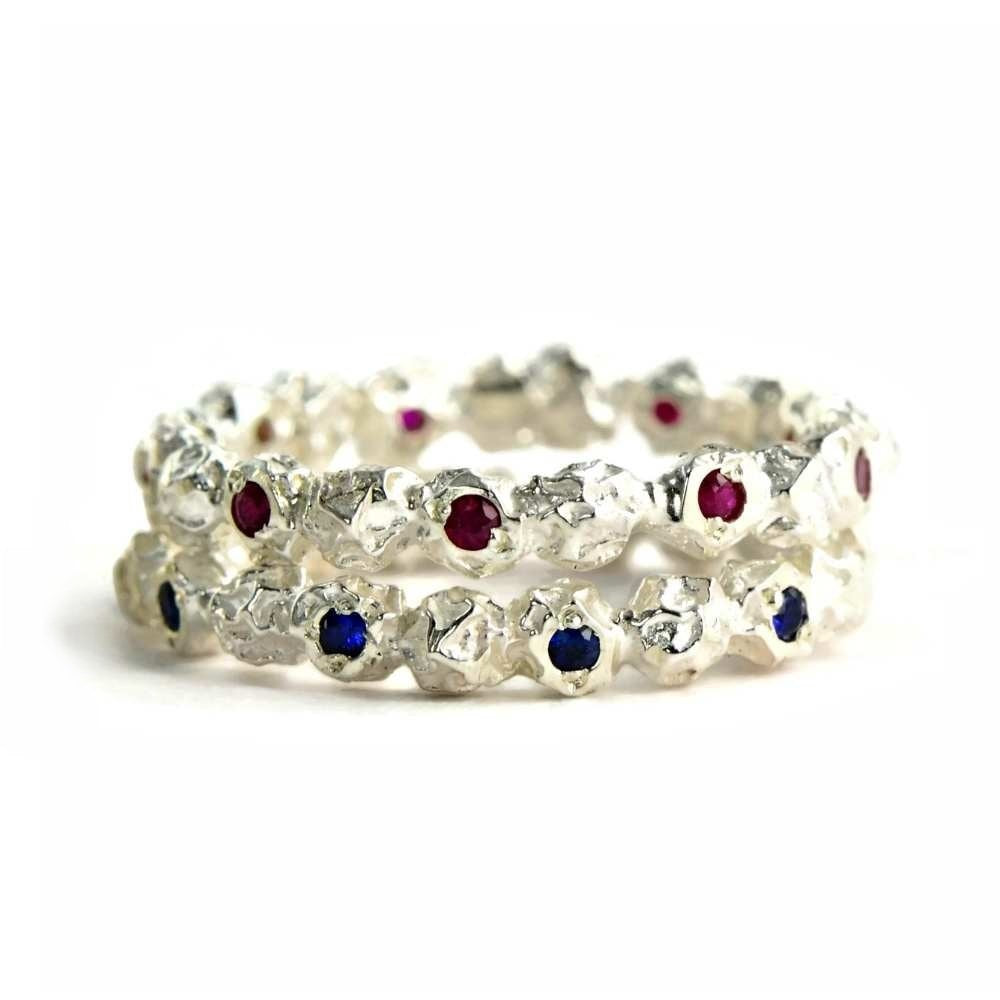 Ruby eternity ring, Silver peppercorn ring design