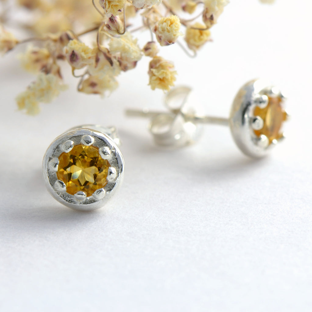Small citrine stud earrings