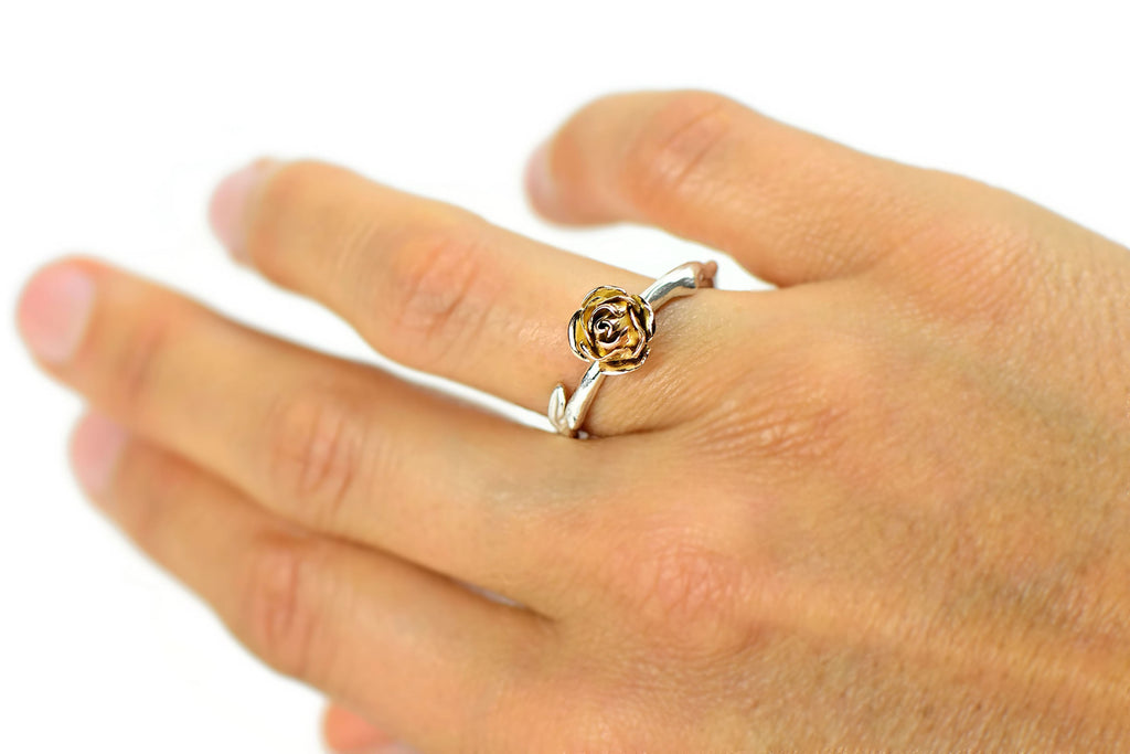 Yellow rose ring made in 9 carat yellow gold rose and soft rose stem band in silver