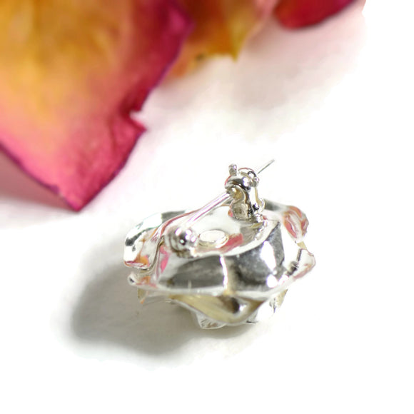 Open rose Brooch, 2cm silver rose