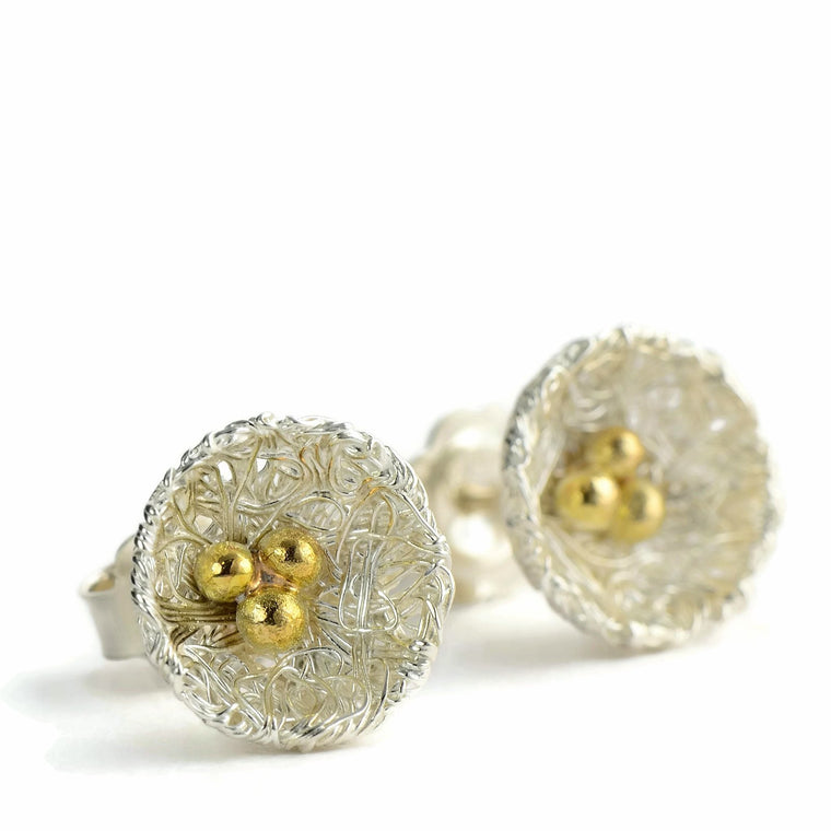 18ct solid eco-gold stud nest earrings