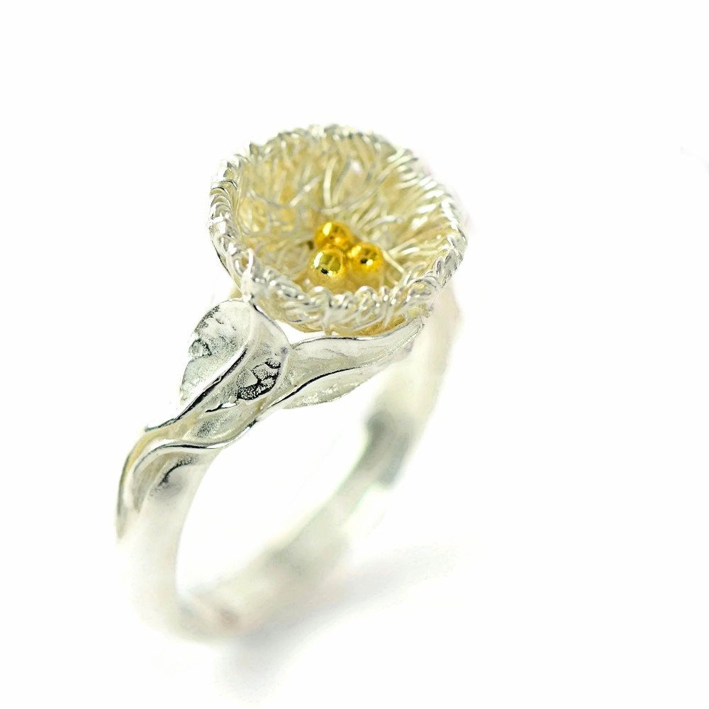 Silver birds nest ring UKMade Nature Inspired Ethical Jewellery