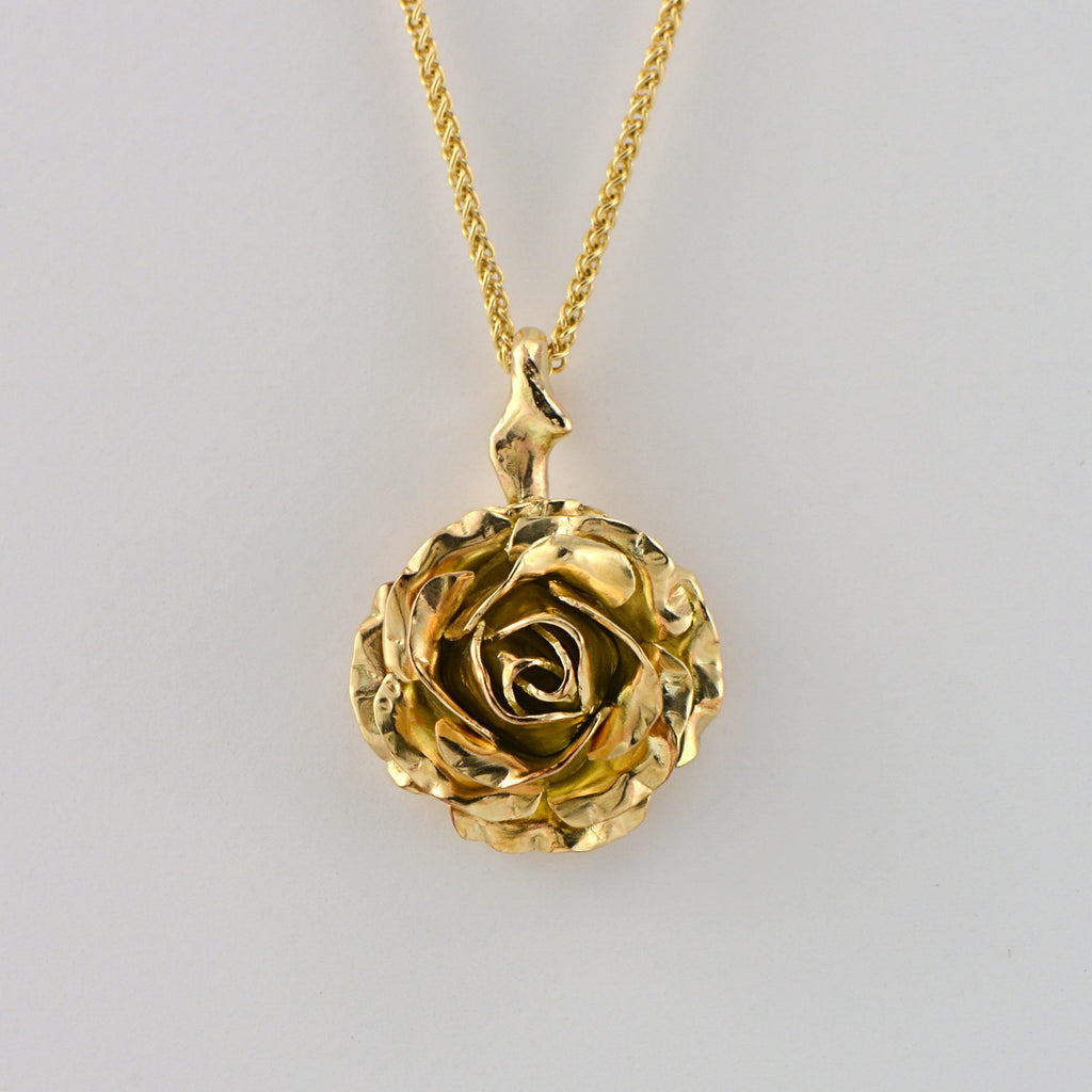 gold rose pendant