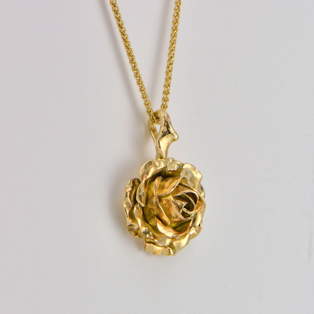 yellow rose flower pendant