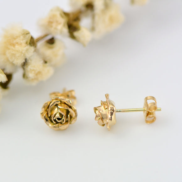 Tiny 9ct gold rose stud earrings - solid gold stud earrings