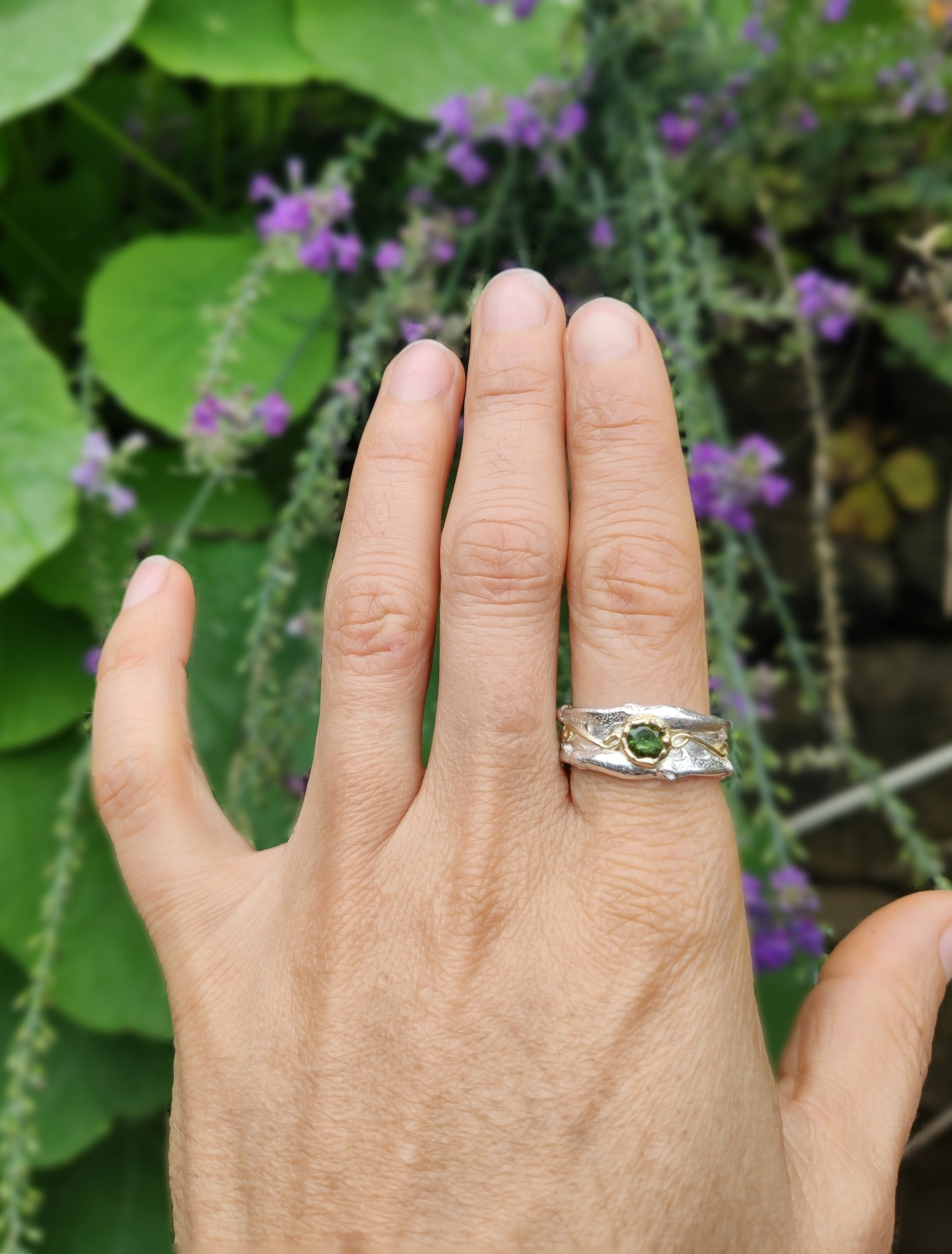 Natural Green Tourmaline Crystal Silver Ring Textured Thick Silver Band Ring with Raw Gemstone