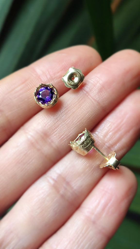 amethyst and solid gold studs