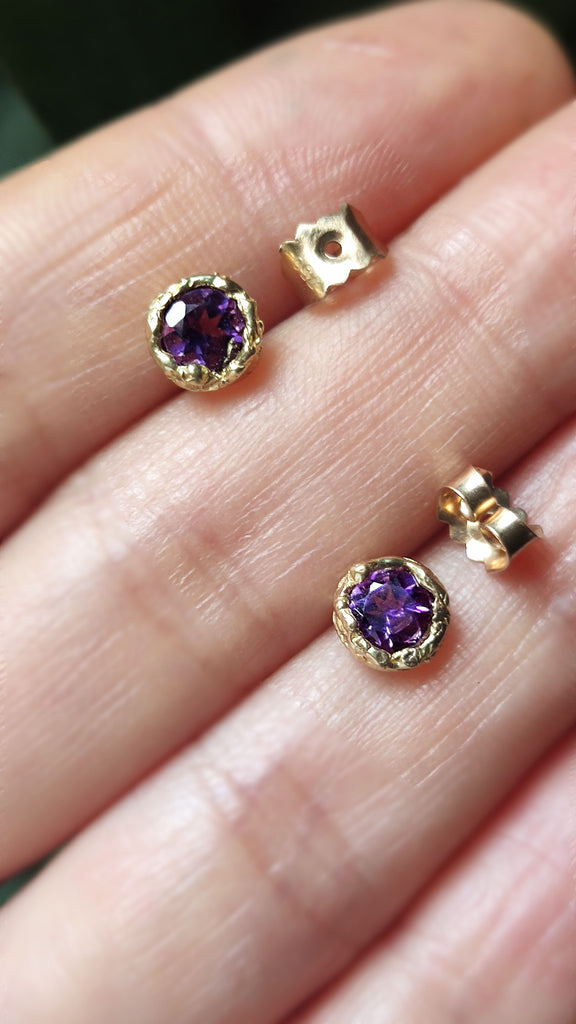 Tiny Amethyst stud earrings