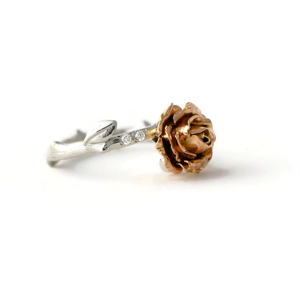 gold rose ring with tiny diamonds