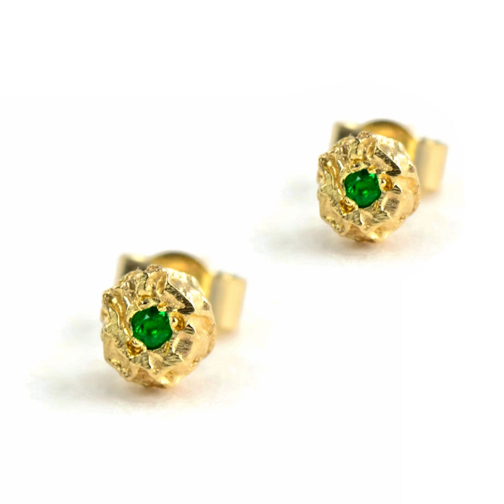9ct solid eco-gold petite grain of peppercorn stud earrings with gemstones
