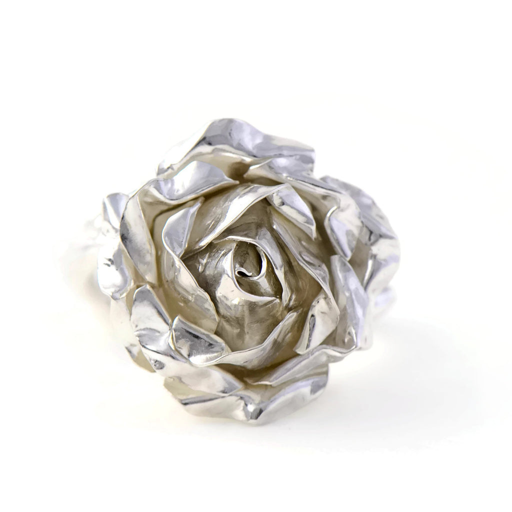 large silver rose ring