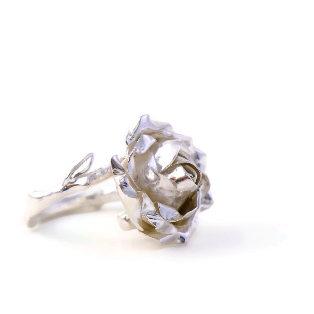 silver rose with a twig  rose band