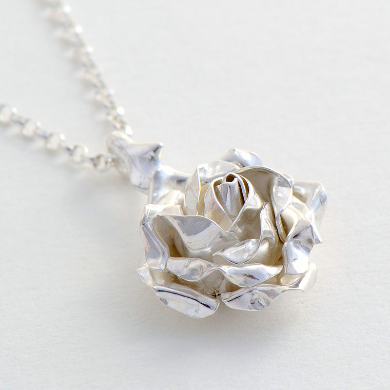 silver rose pendant, roses jewellery, sterling silver roses