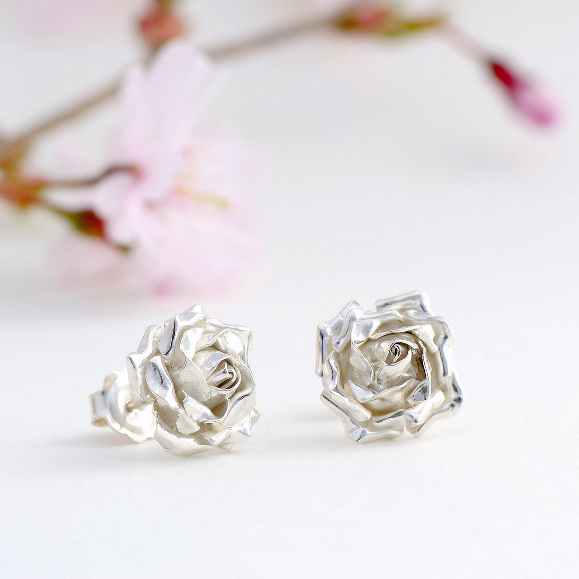 medium rose stud earrings