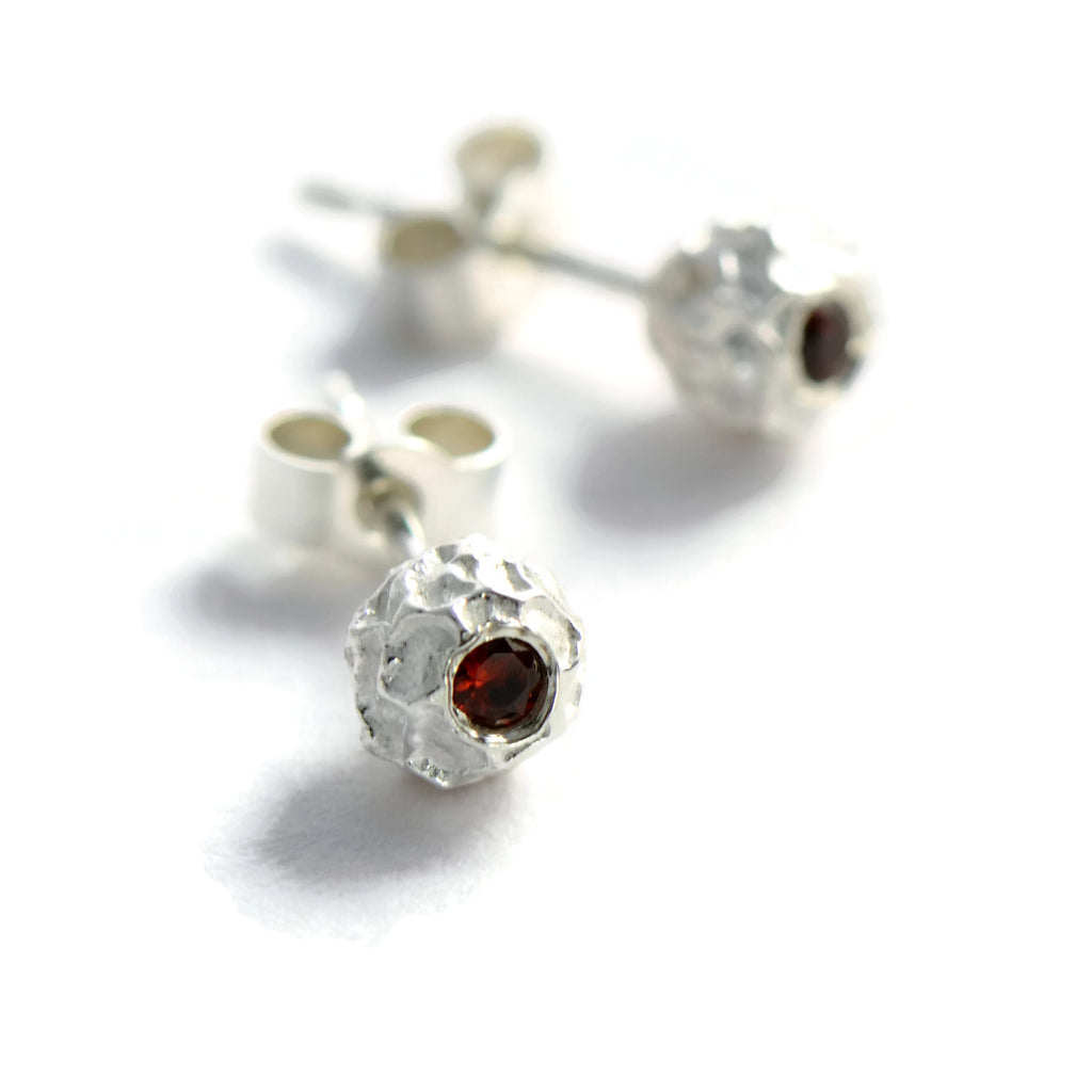 Delicate silver grain of peppercorn stud earrings with gemstones