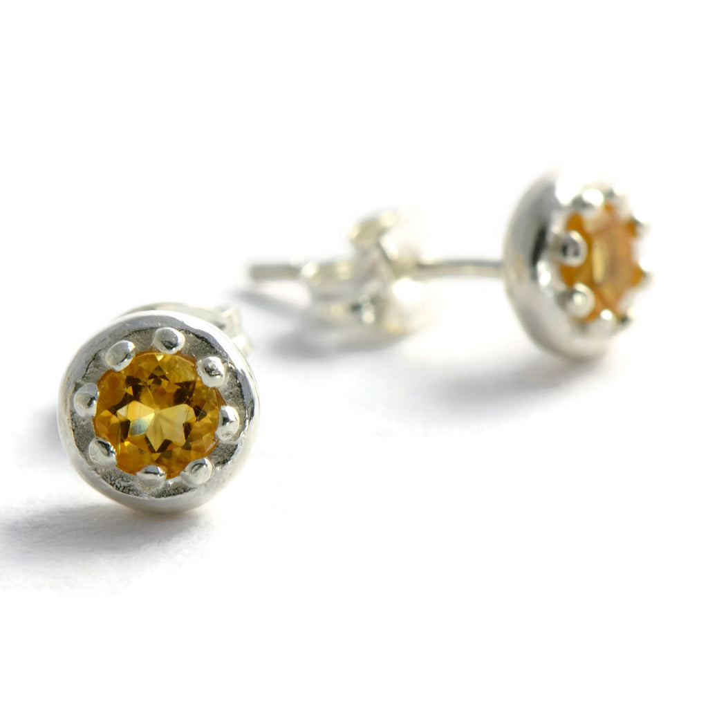 Silver citrine stud earrings