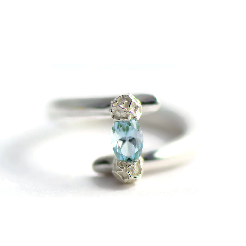 blue topaz tension set ring, sterling silver