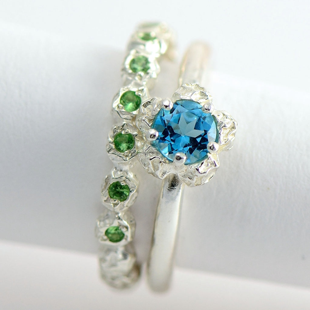 sterling silver solitary blue topaz ring+ eternity green garnet ring