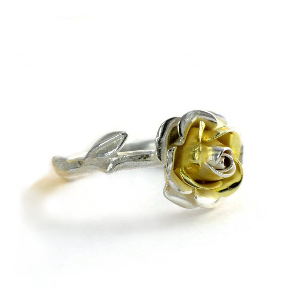 yellow gold and silver rose ring