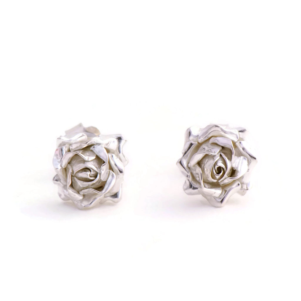 A small rose stud earrings - open rose stud earrings