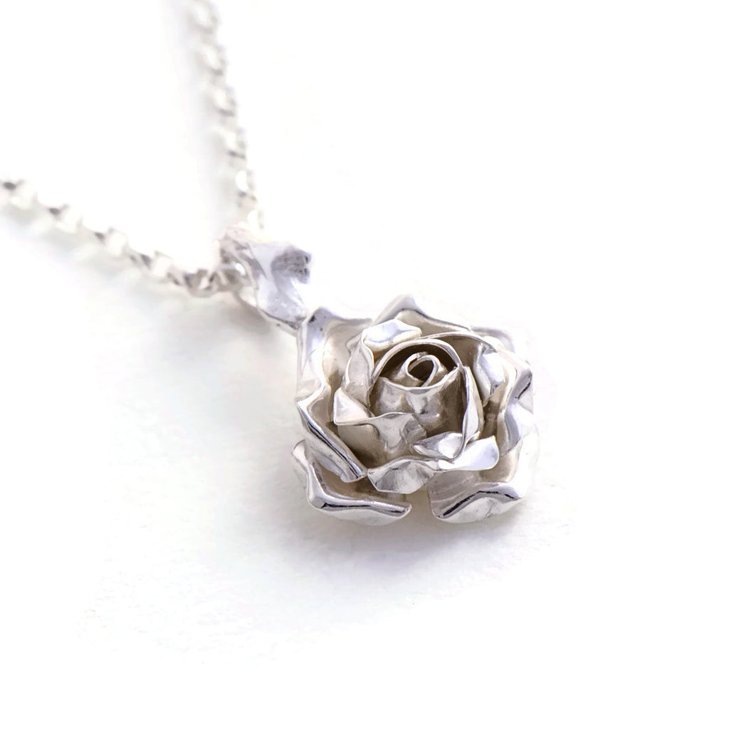 Delicate rose pendant - small rose necklace