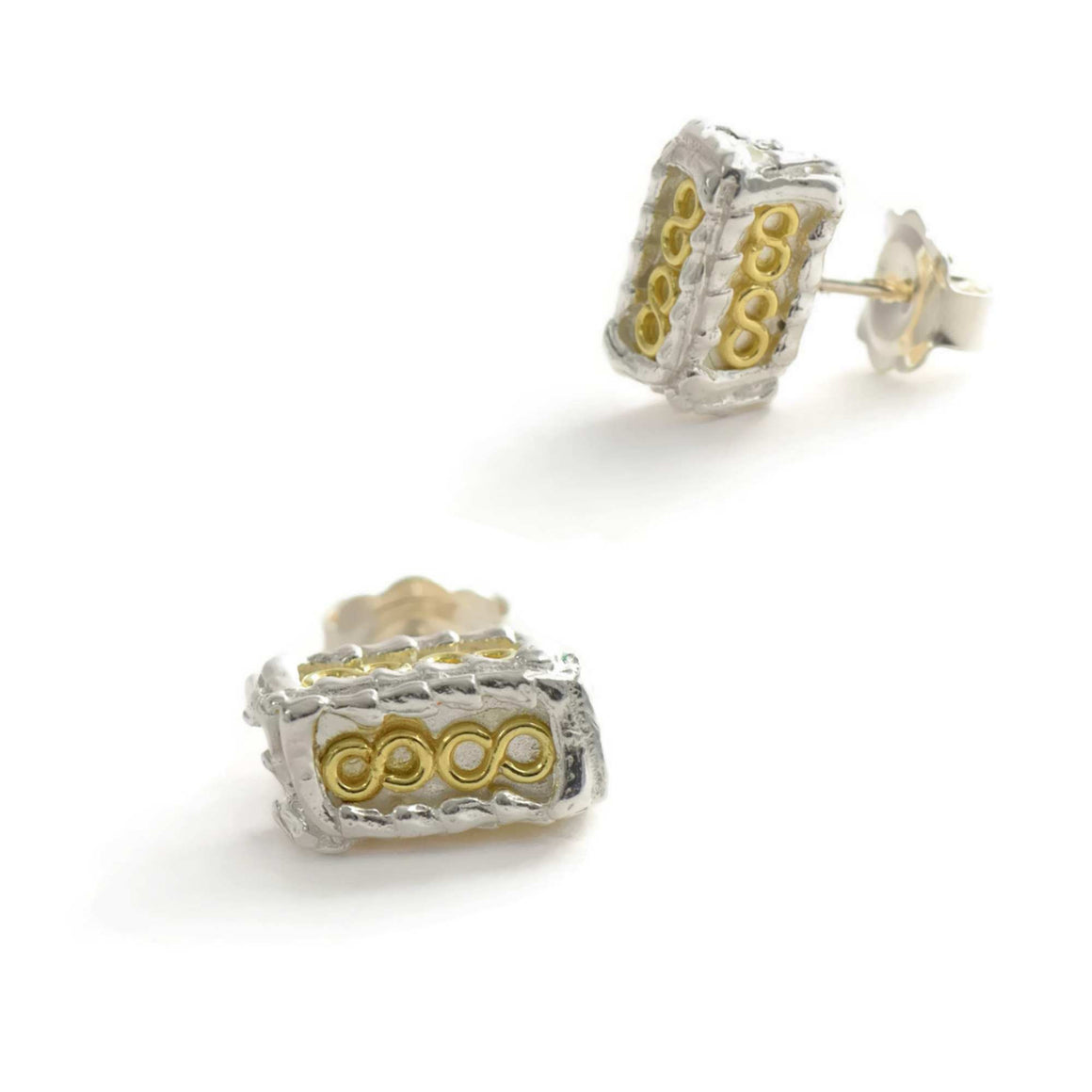 18ct gold and silver pettite patterned 3D rectangle stud earrings, geometrical designs
