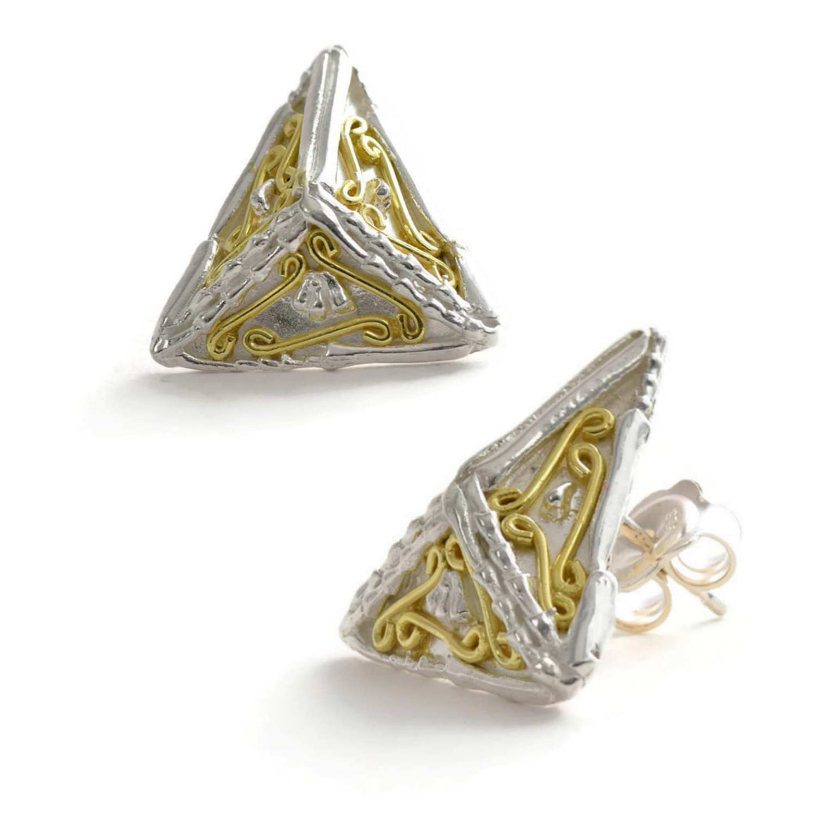 18ct gold and silver patterned 3D triangle stud earrings, geometrical designs