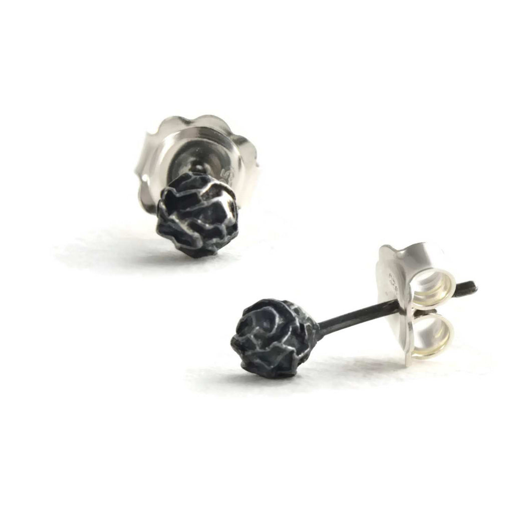 A silver Petite peppercorn stud earrings