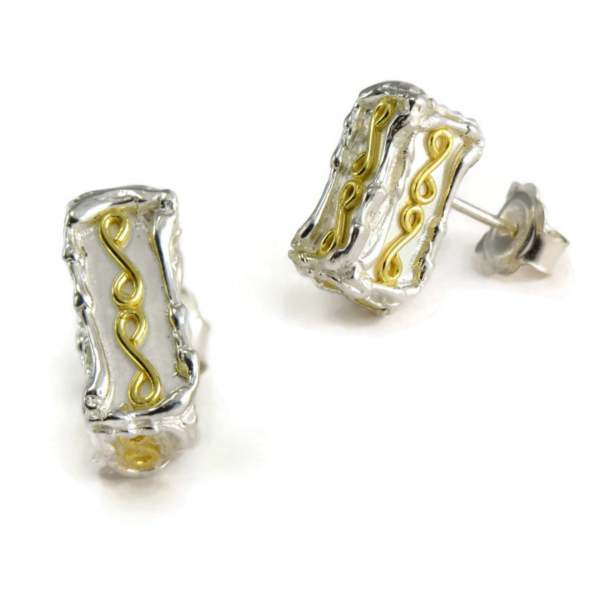 18ct gold and silver large patterned 3D rectangle stud earrings, geometrical designs