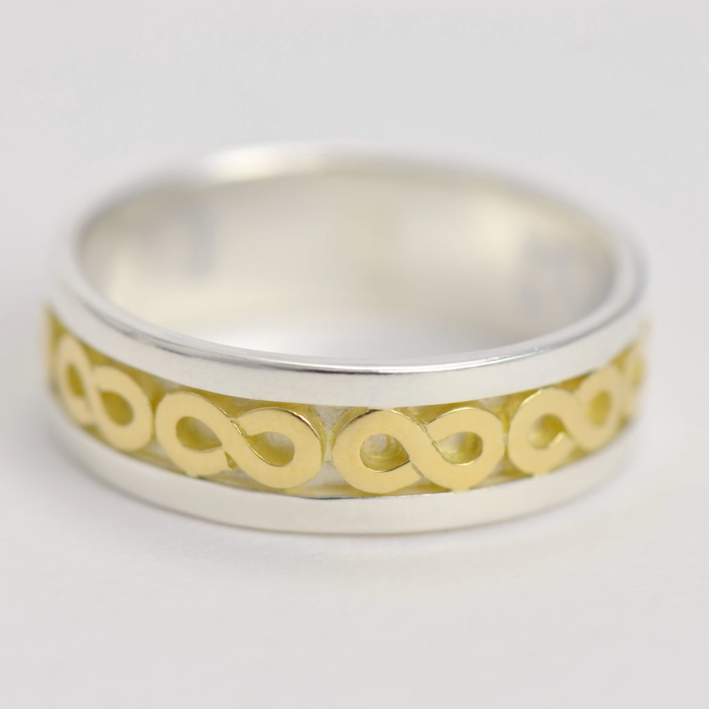 7 mm wedding ring band -  a mixed metal custom 18ct gold and sterling silver boho ring