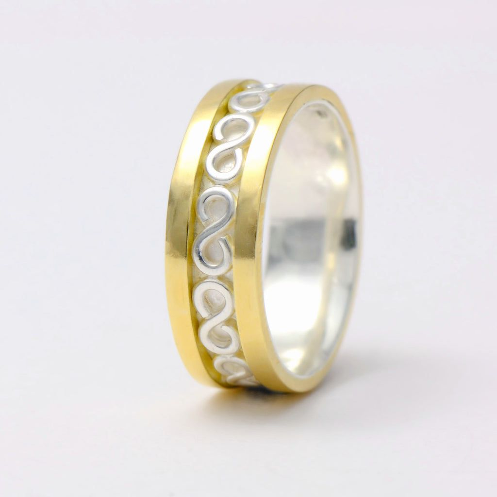 Wedding band made with 18k gold and sterling silver - boho ring  design
