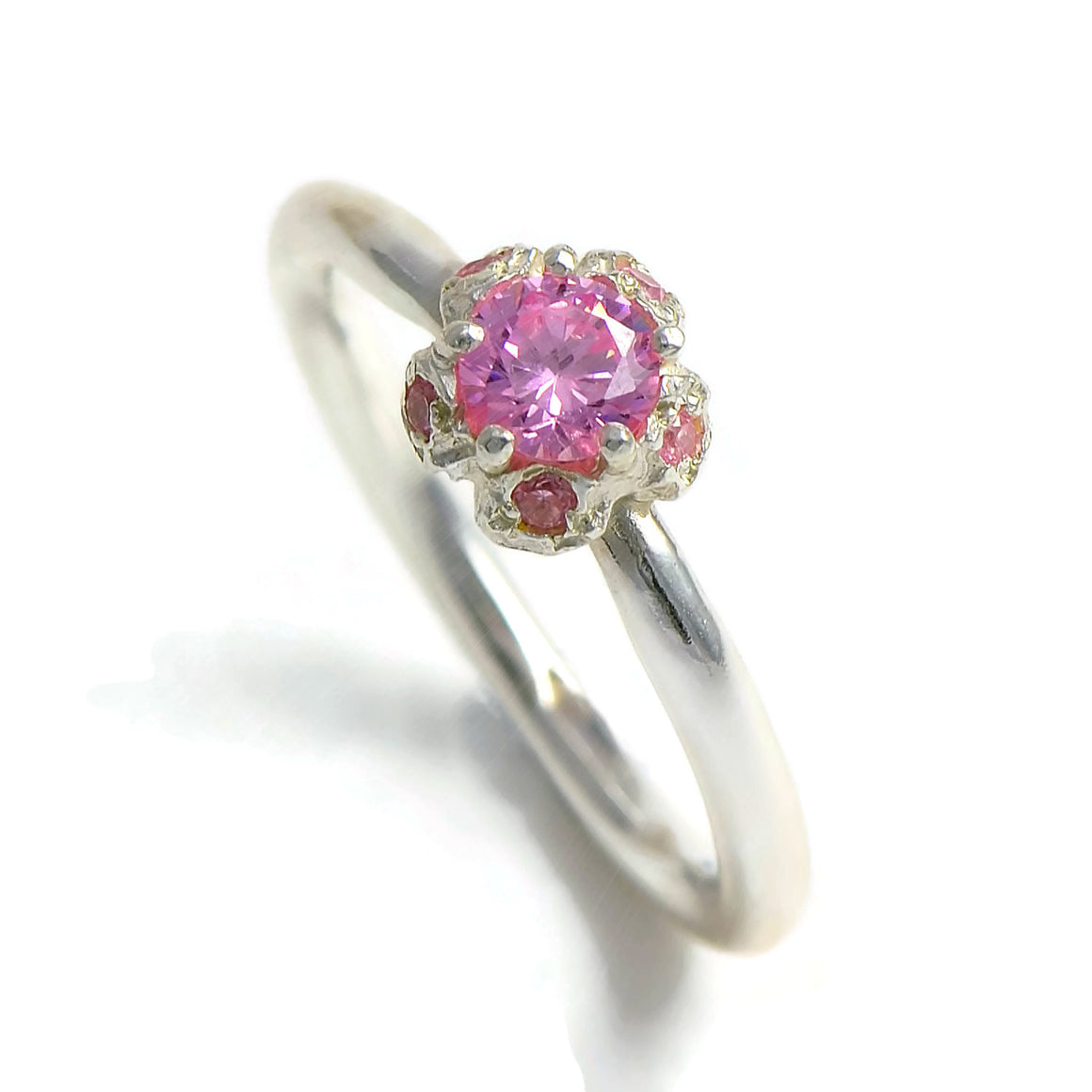 Pink tourmaline solitary wedding ring