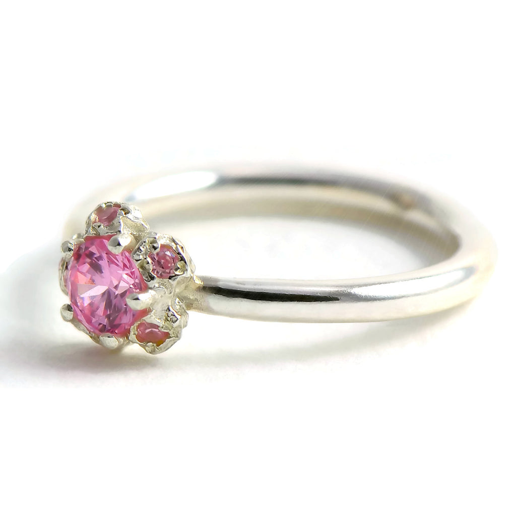 silver and pink tourmaline cluster ring